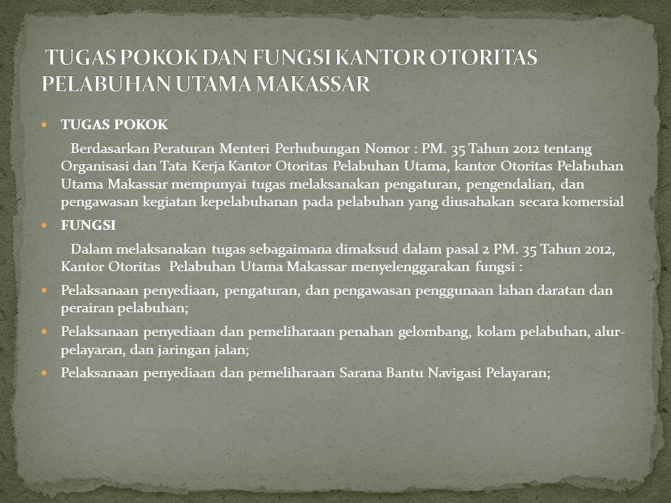  TUGAS POKOK Berdasarkan Peraturan Menteri Perhubungan Nomor : PM.