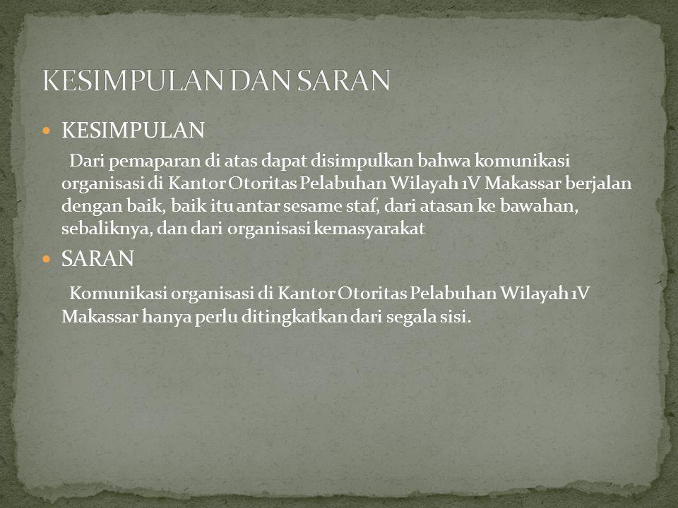  KESIMPULAN Dari pemaparan di atas dapat disimpulkan bahwa komunikasi organisasi di Kantor Otoritas Pelabuhan Wilayah 1V Makassar berjalan dengan baik, baik itu antar sesame staf, dari atasan ke bawahan, sebaliknya, dan dari organisasi kemasyarakat  SARAN Komunikasi organisasi di Kantor Otoritas Pelabuhan Wilayah 1V Makassar hanya perlu ditingkatkan dari segala sisi.