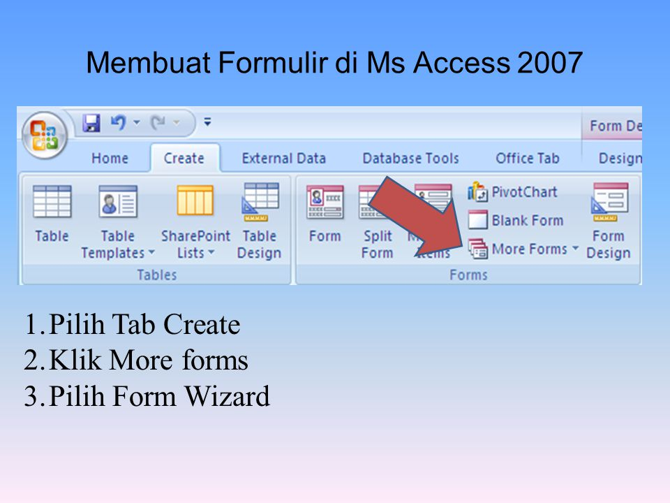 Membuat Formulir di Ms Access 2007 1.Pilih Tab Create 2.Klik More forms 3.Pilih Form Wizard