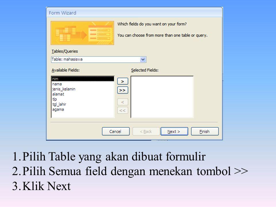1.Pilih Table yang akan dibuat formulir 2.Pilih Semua field dengan menekan tombol >> 3.Klik Next