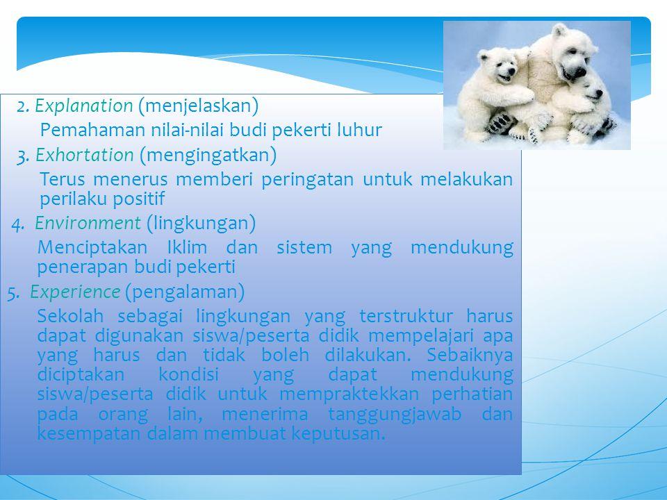 2.Explanation (menjelaskan) Pemahaman nilai-nilai budi pekerti luhur 3.