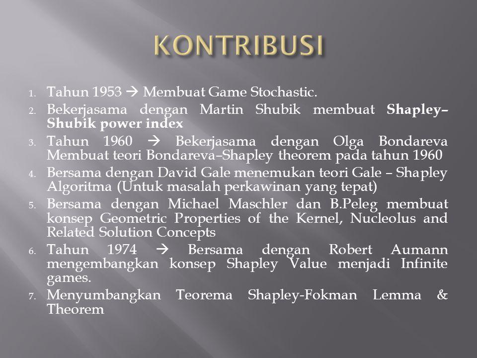 1. Tahun 1953  Membuat Game Stochastic. 2. Bekerjasama dengan Martin Shubik membuat Shapley– Shubik power index 3. Tahun 1960  Bekerjasama dengan Ol