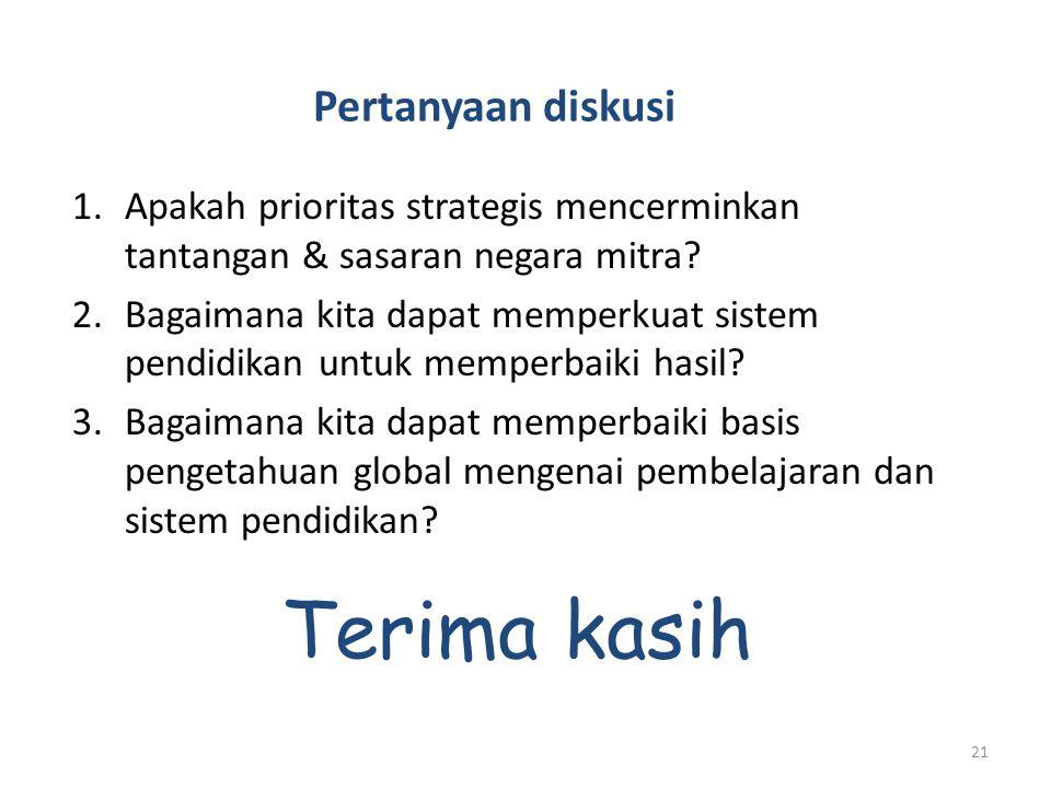 Pertanyaan diskusi 1.Apakah prioritas strategis mencerminkan tantangan & sasaran negara mitra? 2.Bagaimana kita dapat memperkuat sistem pendidikan unt