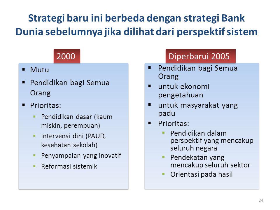Strategi baru ini berbeda dengan strategi Bank Dunia sebelumnya jika dilihat dari perspektif sistem  Pendidikan bagi Semua Orang  untuk ekonomi peng