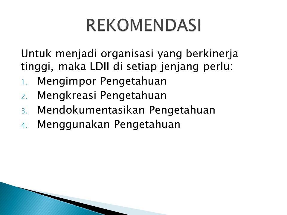 Untuk menjadi organisasi yang berkinerja tinggi, maka LDII di setiap jenjang perlu: 1. Mengimpor Pengetahuan 2. Mengkreasi Pengetahuan 3. Mendokumenta