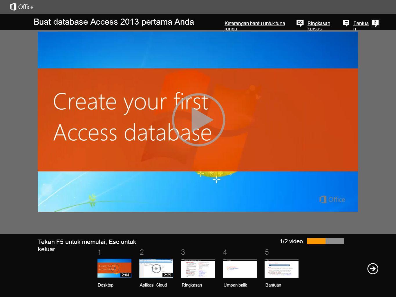 51234 Bantua n Ringkasan kursus Buat database Access 2013 pertama Anda 1/2 video Jika Anda baru mengenal Access,dan Anda tidak tahu cara mendesain atau membangun database,yang Anda perlukan hanya sebuah templat.Jalankan Access, dan ia akan menampilkan templat secara otomatis.Atau jika Access Anda sudah berjalan, klik File, kemudian Baru.Dari sini, silakan klik templat yang memperlihatkan jenis data yang perlu Anda simpan.Misalnya, jika Anda perlu mengelola data aset, klik templat Pelacakan Aset.Beri nama databasenya, pilih lokasi jika Anda menginginkannya, dan klik Buat.Ketika templat terbuka, klik Aktifkan Konten, di sini.Hal ini memungkinkan database menjalankan semua fiturnya, dan Anda hanya perlu melakukannya sekali.