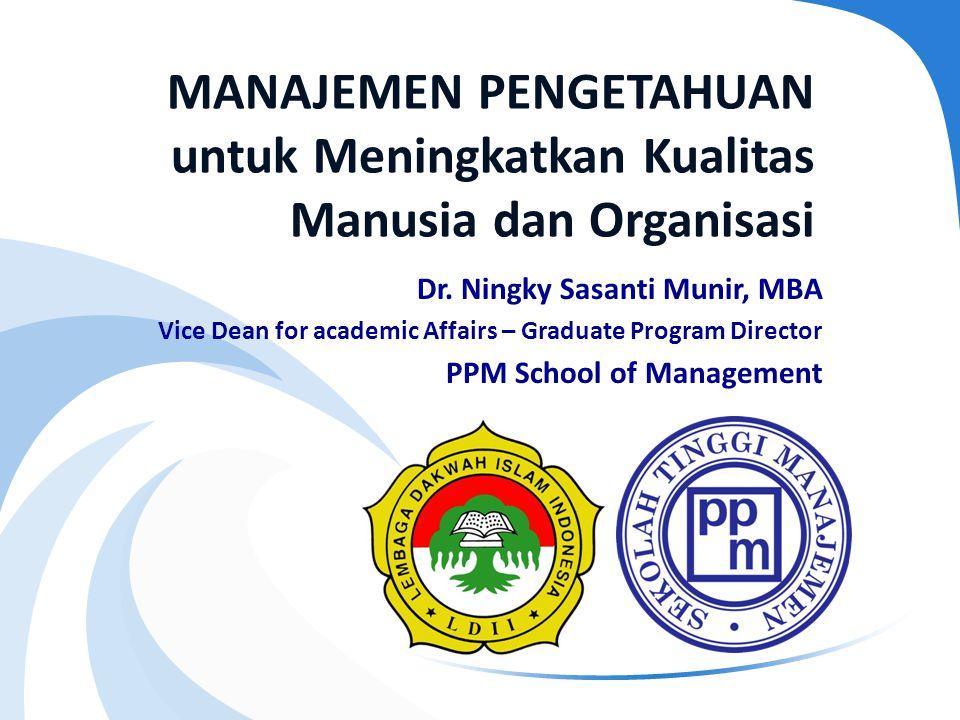 MANAJEMEN PENGETAHUAN untuk Meningkatkan Kualitas Manusia dan Organisasi Dr. Ningky Sasanti Munir, MBA Vice Dean for academic Affairs – Graduate Progr