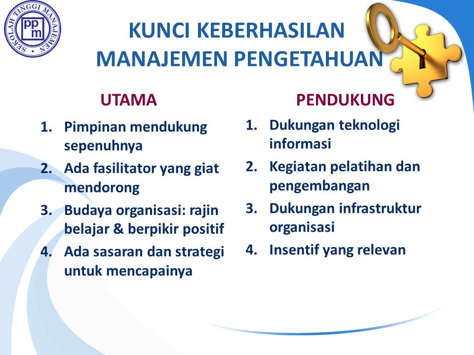 KUNCI KEBERHASILAN MANAJEMEN PENGETAHUAN UTAMA 1.Pimpinan mendukung sepenuhnya 2.Ada fasilitator yang giat mendorong 3.Budaya organisasi: rajin belajar & berpikir positif 4.Ada sasaran dan strategi untuk mencapainya PENDUKUNG 1.Dukungan teknologi informasi 2.Kegiatan pelatihan dan pengembangan 3.Dukungan infrastruktur organisasi 4.Insentif yang relevan