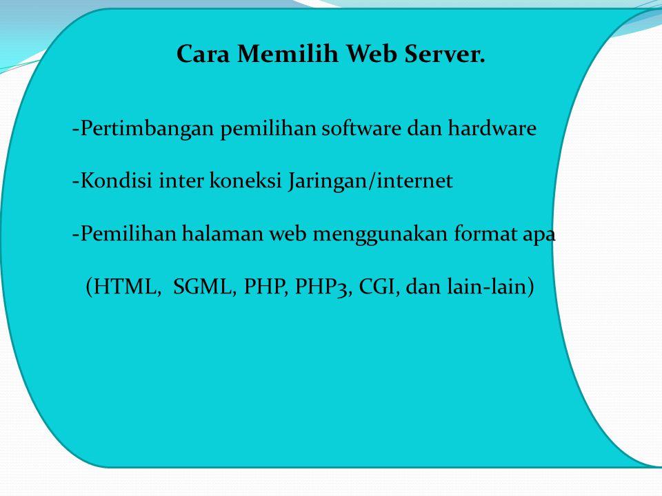 Cara Memilih Web Server. -Pertimbangan pemilihan software dan hardware -Kondisi inter koneksi Jaringan/internet -Pemilihan halaman web menggunakan for