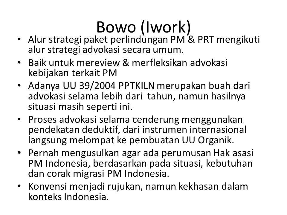 Bowo (Iwork) • Alur strategi paket perlindungan PM & PRT mengikuti alur strategi advokasi secara umum.