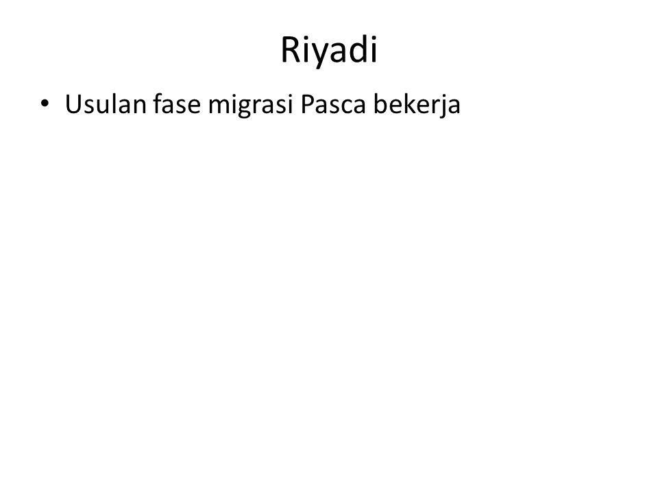 Riyadi • Usulan fase migrasi Pasca bekerja