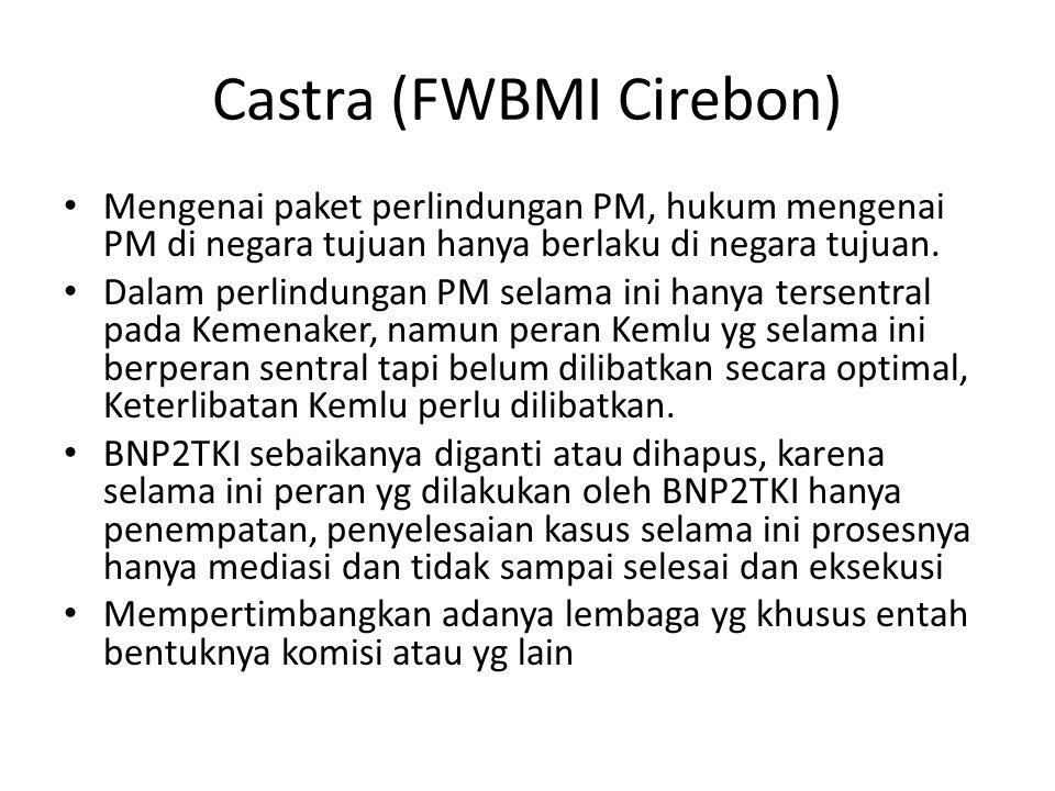 Castra (FWBMI Cirebon) • Mengenai paket perlindungan PM, hukum mengenai PM di negara tujuan hanya berlaku di negara tujuan.