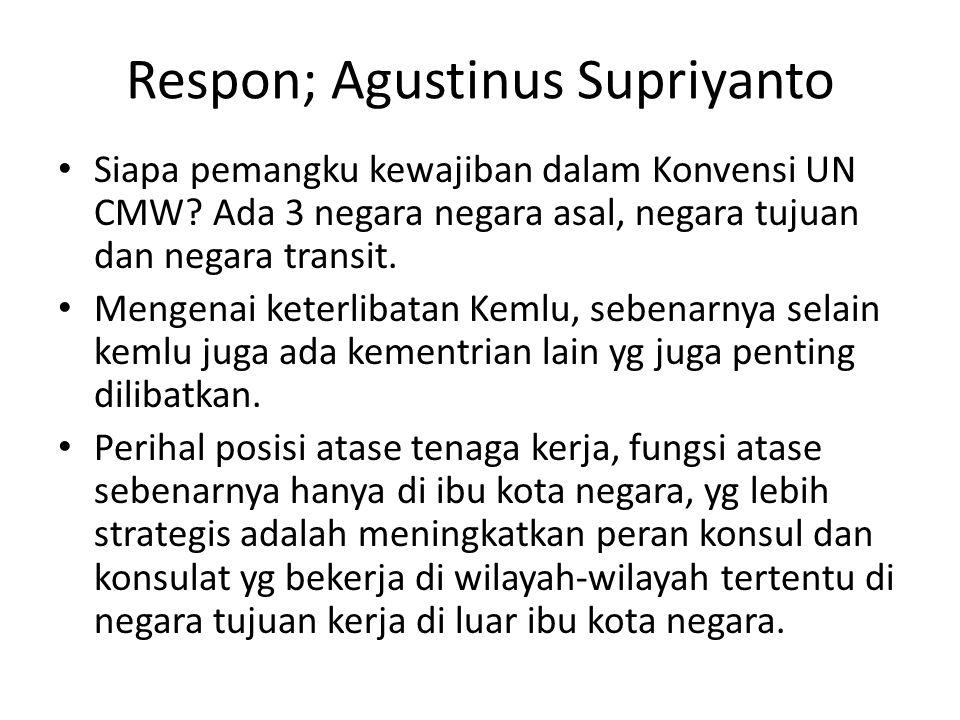 Respon; Agustinus Supriyanto • Siapa pemangku kewajiban dalam Konvensi UN CMW.