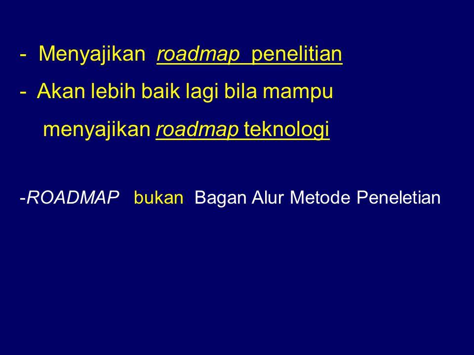 - Menyajikan roadmap penelitian - Akan lebih baik lagi bila mampu menyajikan roadmap teknologi -ROADMAP bukan Bagan Alur Metode Peneletian