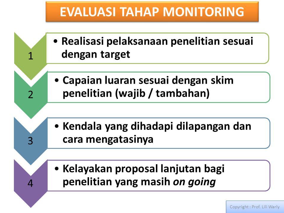EVALUASI TAHAP MONITORING Copyright : Prof. Lili Warly