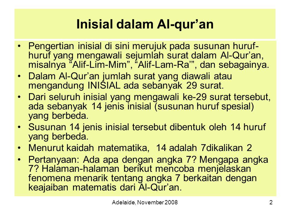 Adelaide, November 200813 Pada ayat pertama (QS Al-Baqarah Ayat 2) diperoleh bahwa jumlah kata yang memuat salah satu huruf pada inisial Alif Lam Mim ada 4 kata, dan jumlah huruf dalam Inisial Alif Lam Mim pada ayat tersebut sebanyak 8 atau dua kali lipat (lihat distribusi huruf di halaman sebelumnya).