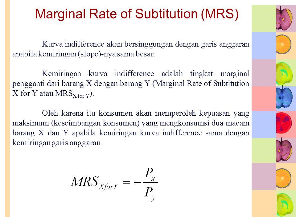 Marginal Rate of Subtitution (MRS) Kurva indifference akan bersinggungan dengan garis anggaran apabila kemiringan (slope)-nya sama besar. Kemiringan k