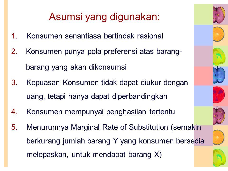 Asumsi yang digunakan: 1.Konsumen senantiasa bertindak rasional 2. Konsumen punya pola preferensi atas barang- barang yang akan dikonsumsi 3.Kepuasan
