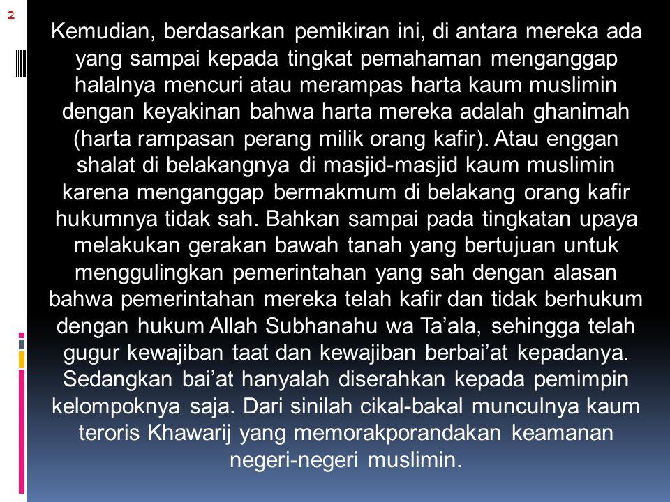 13 Dengan doktrin sam'u (mendengar) dan tha'ah (taat) kepada para pengikutnya, mereka pun rela berjuang dengan harta dan jiwa mereka sekalipun, jika mendapat perintah dari amir jamaahnya, Abu Bakr Ba'asyir, meskipun bertentangan dengan pemerintah Indonesia.