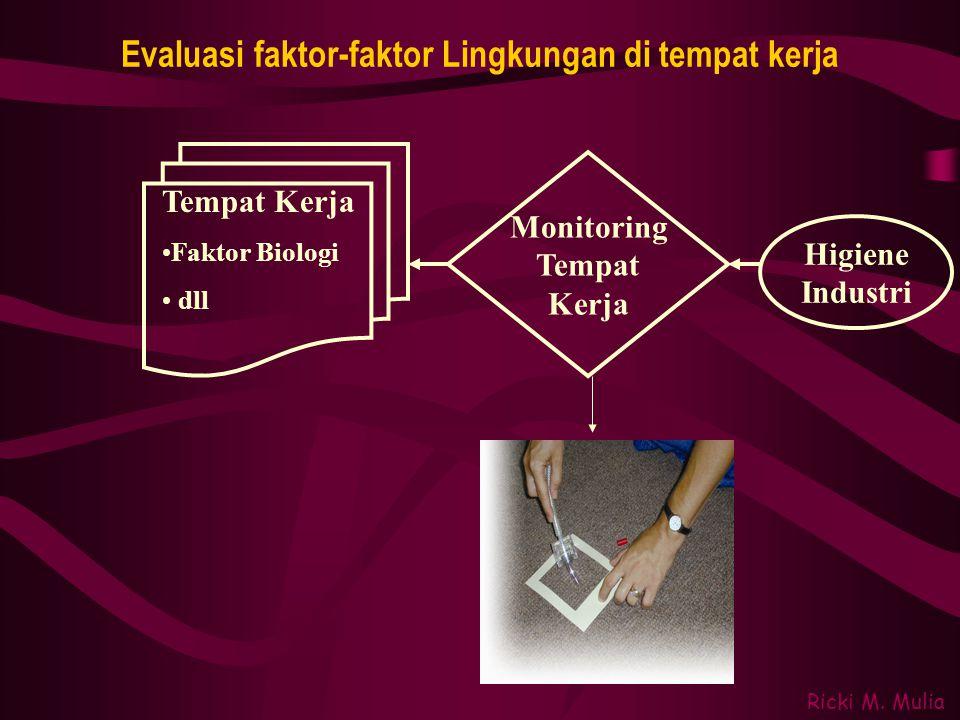 Evaluasi faktor-faktor Lingkungan di tempat kerja Ricki M. Mulia Tempat Kerja •Faktor Biologi • dll Higiene Industri Monitoring Tempat Kerja