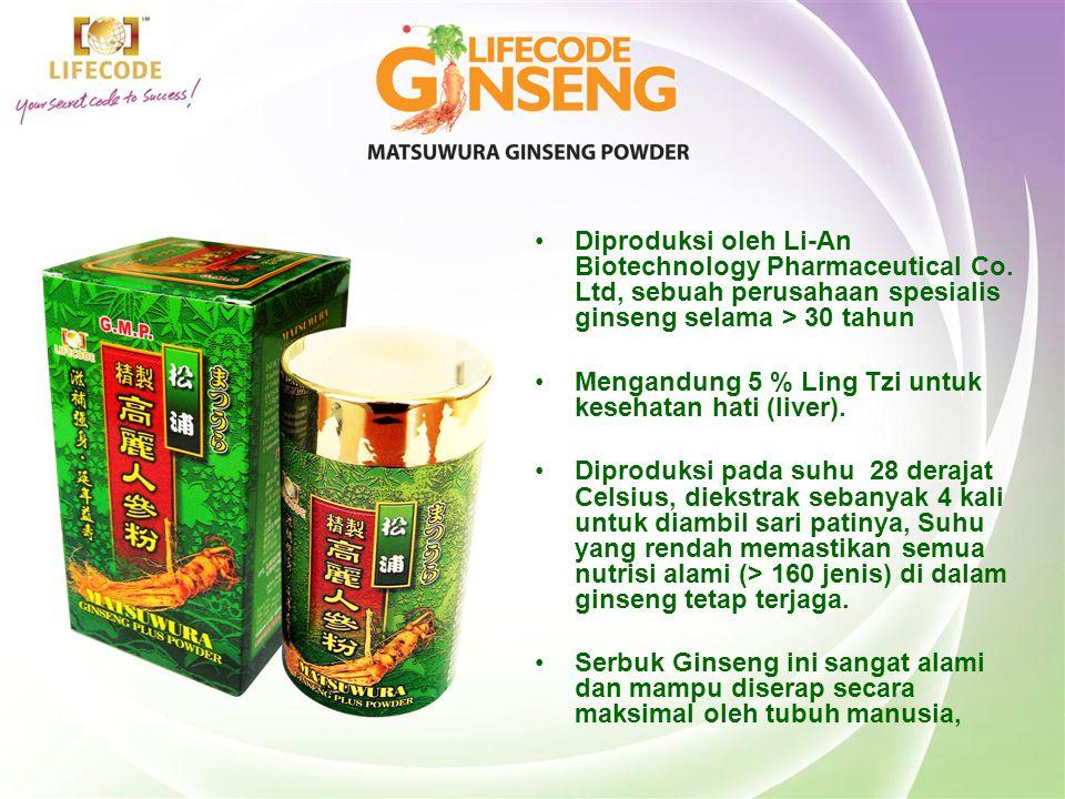 •Diproduksi oleh Li-An Biotechnology Pharmaceutical Co. Ltd, sebuah perusahaan spesialis ginseng selama > 30 tahun •Mengandung 5 % Ling Tzi untuk kese