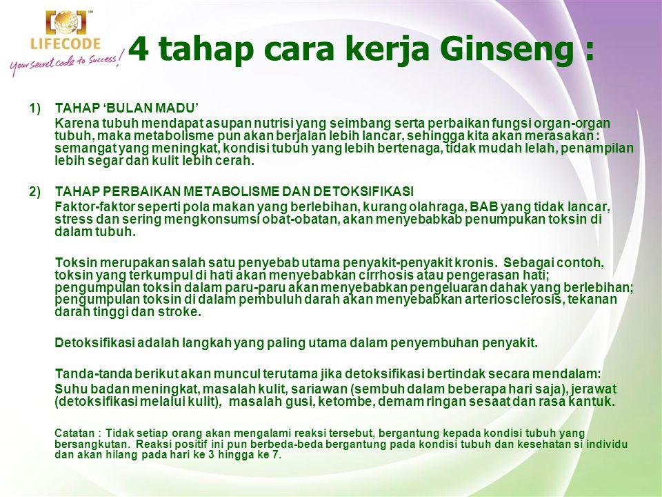 4 tahap cara kerja Ginseng : 1)TAHAP 'BULAN MADU' Karena tubuh mendapat asupan nutrisi yang seimbang serta perbaikan fungsi organ-organ tubuh, maka me