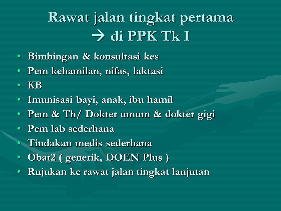 Rawat jalan tingkat pertama  di PPK Tk I •Bimbingan & konsultasi kes •Pem kehamilan, nifas, laktasi •KB •Imunisasi bayi, anak, ibu hamil •Pem & Th/ D