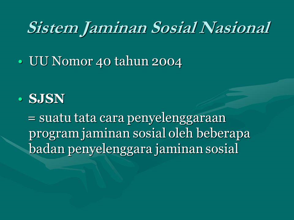 Sistem Jaminan Sosial Nasional •UU Nomor 40 tahun 2004 •SJSN = suatu tata cara penyelenggaraan program jaminan sosial oleh beberapa badan penyelenggar