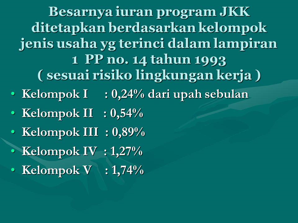 Besarnya iuran program JKK ditetapkan berdasarkan kelompok jenis usaha yg terinci dalam lampiran 1 PP no. 14 tahun 1993 ( sesuai risiko lingkungan ker