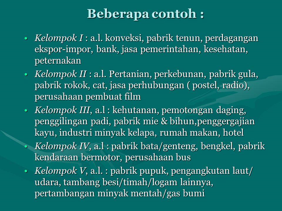 Beberapa contoh : •Kelompok I : a.l. konveksi, pabrik tenun, perdagangan ekspor-impor, bank, jasa pemerintahan, kesehatan, peternakan •Kelompok II : a