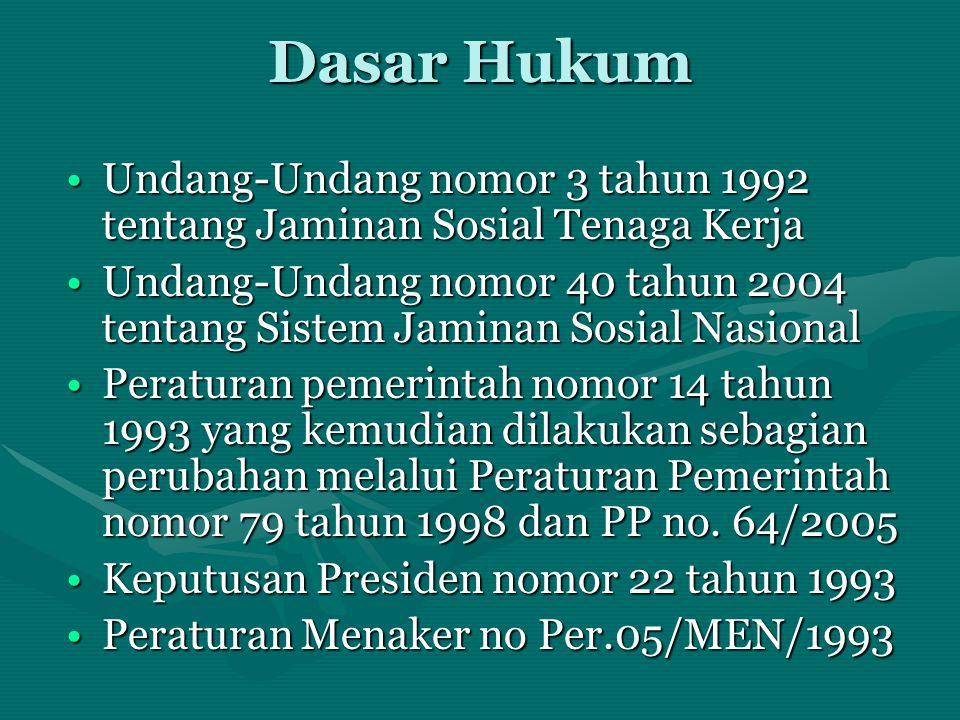 Dasar Hukum •Undang-Undang nomor 3 tahun 1992 tentang Jaminan Sosial Tenaga Kerja •Undang-Undang nomor 40 tahun 2004 tentang Sistem Jaminan Sosial Nas
