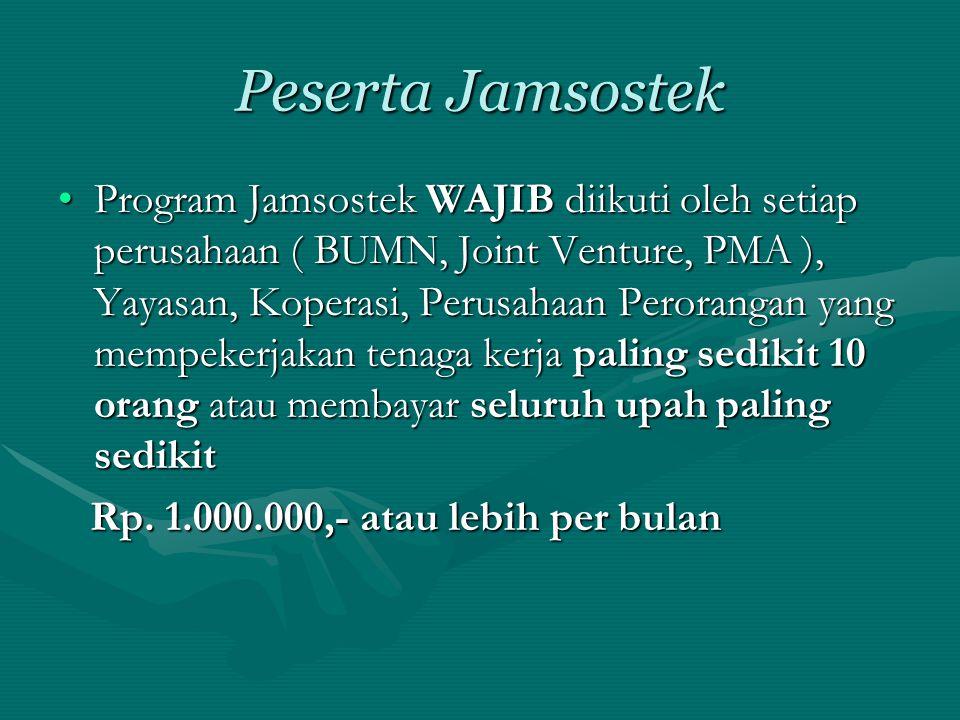 Peserta Jamsostek •Program Jamsostek WAJIB diikuti oleh setiap perusahaan ( BUMN, Joint Venture, PMA ), Yayasan, Koperasi, Perusahaan Perorangan yang