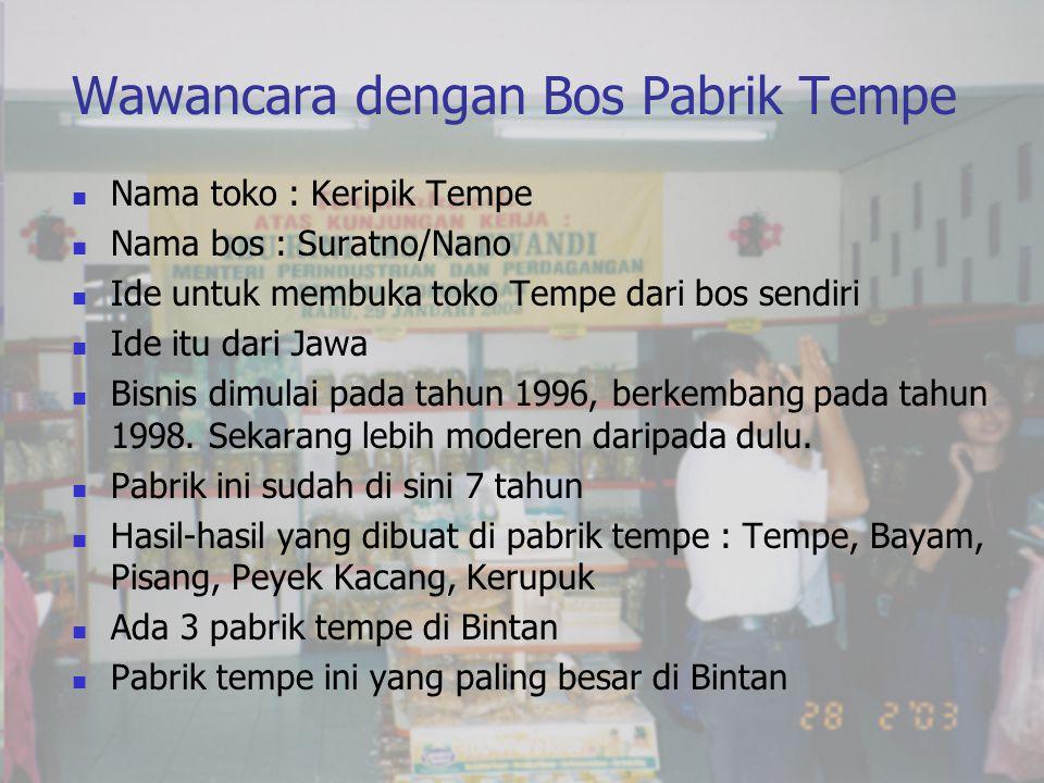 Wawancara dengan Bos Pabrik Tempe  Nama toko : Keripik Tempe  Nama bos : Suratno/Nano  Ide untuk membuka toko Tempe dari bos sendiri  Ide itu dari Jawa  Bisnis dimulai pada tahun 1996, berkembang pada tahun 1998.