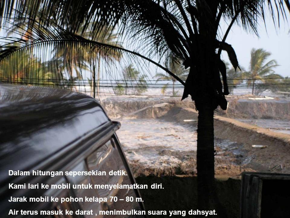 Dalam hitungan sepersekian detik. Kami lari ke mobil untuk menyelamatkan diri. Jarak mobil ke pohon kelapa 70 – 80 m. Air terus masuk ke darat, menimb