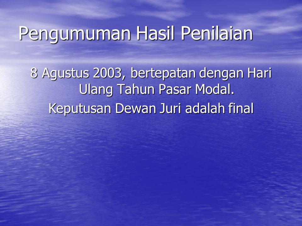 Pengumuman Hasil Penilaian 8 Agustus 2003, bertepatan dengan Hari Ulang Tahun Pasar Modal. Keputusan Dewan Juri adalah final