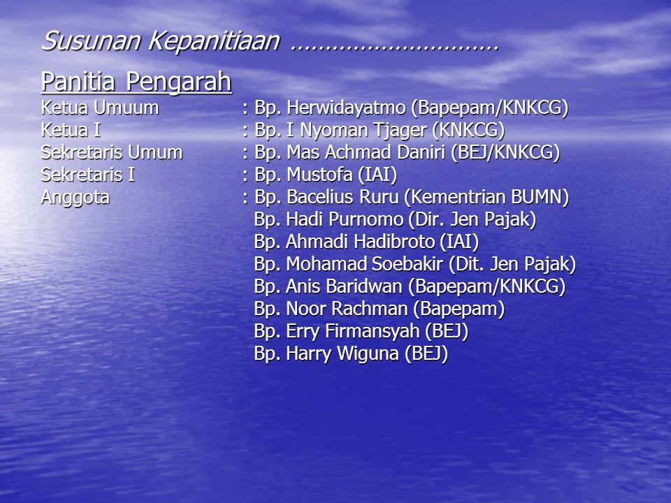 Panitia Pengarah Ketua Umuum: Bp. Herwidayatmo (Bapepam/KNKCG) Ketua I: Bp. I Nyoman Tjager (KNKCG) Sekretaris Umum : Bp. Mas Achmad Daniri (BEJ/KNKCG
