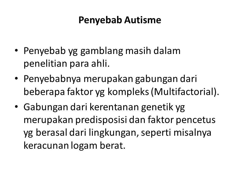 Penyebab Autisme • Penyebab yg gamblang masih dalam penelitian para ahli. • Penyebabnya merupakan gabungan dari beberapa faktor yg kompleks (Multifact
