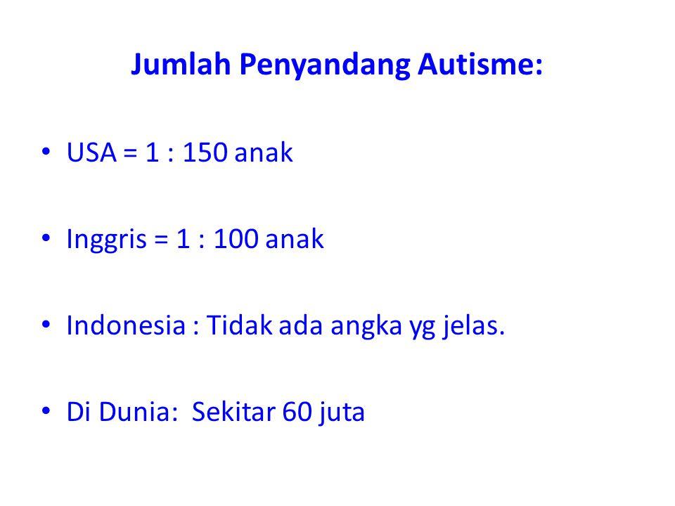 Jumlah Penyandang Autisme: • USA = 1 : 150 anak • Inggris = 1 : 100 anak • Indonesia : Tidak ada angka yg jelas. • Di Dunia: Sekitar 60 juta