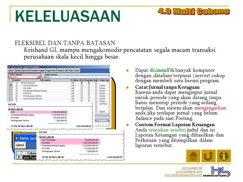 www.pajak.net www.krishand.com www.softwareakunting.com KEAMANAN PProteksi Password saat Login PPengaturan Hak Akses (user permission).