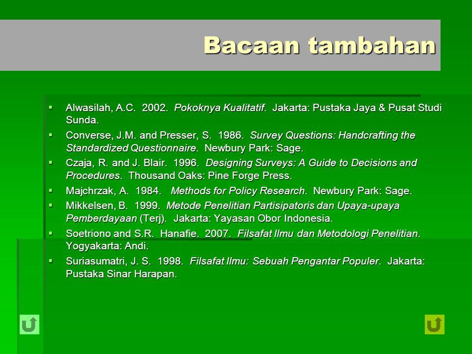  Alwasilah, A.C. 2002. Pokoknya Kualitatif. Jakarta: Pustaka Jaya & Pusat Studi Sunda.  Converse, J.M. and Presser, S. 1986. Survey Questions: Handc