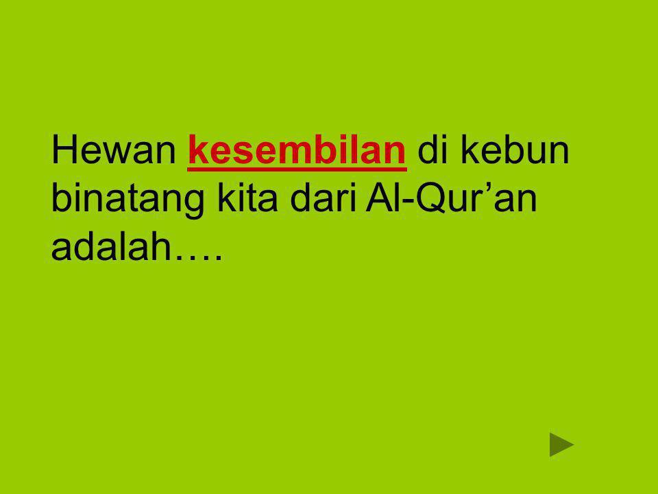 Hewan kesembilan di kebun binatang kita dari Al-Qur'an adalah….