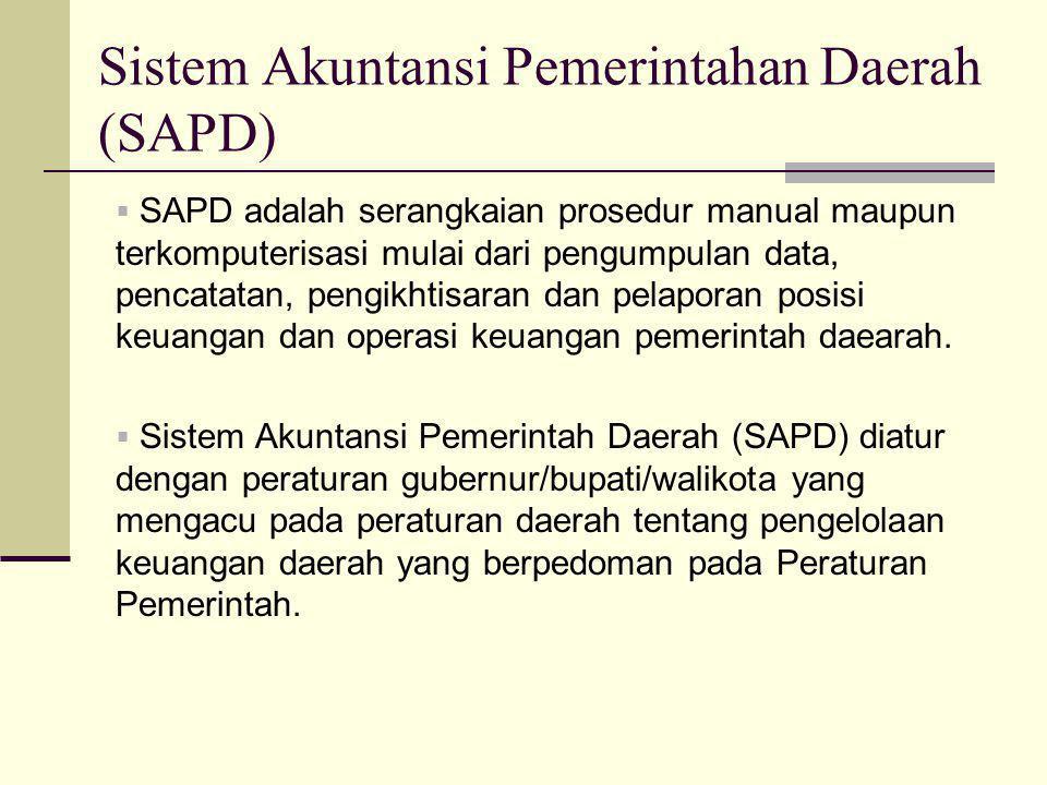 Sistem Akuntansi Pemerintahan Daerah (SAPD)  SAPD adalah serangkaian prosedur manual maupun terkomputerisasi mulai dari pengumpulan data, pencatatan, pengikhtisaran dan pelaporan posisi keuangan dan operasi keuangan pemerintah daearah.