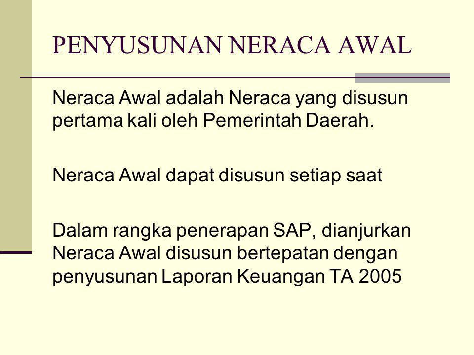 Neraca Awal adalah Neraca yang disusun pertama kali oleh Pemerintah Daerah. Neraca Awal dapat disusun setiap saat Dalam rangka penerapan SAP, dianjurk