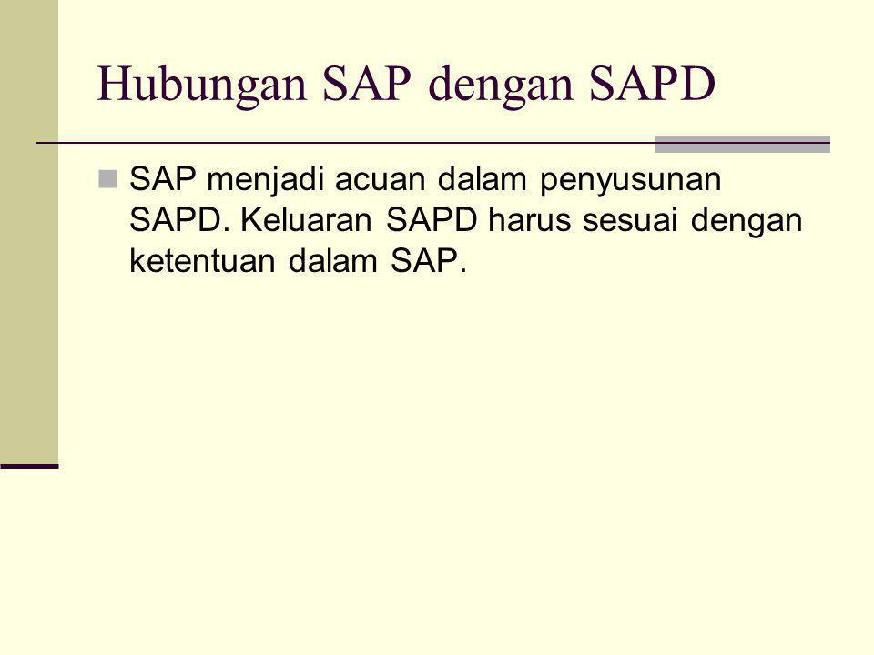 Hubungan SAP dengan SAPD  SAP menjadi acuan dalam penyusunan SAPD. Keluaran SAPD harus sesuai dengan ketentuan dalam SAP.