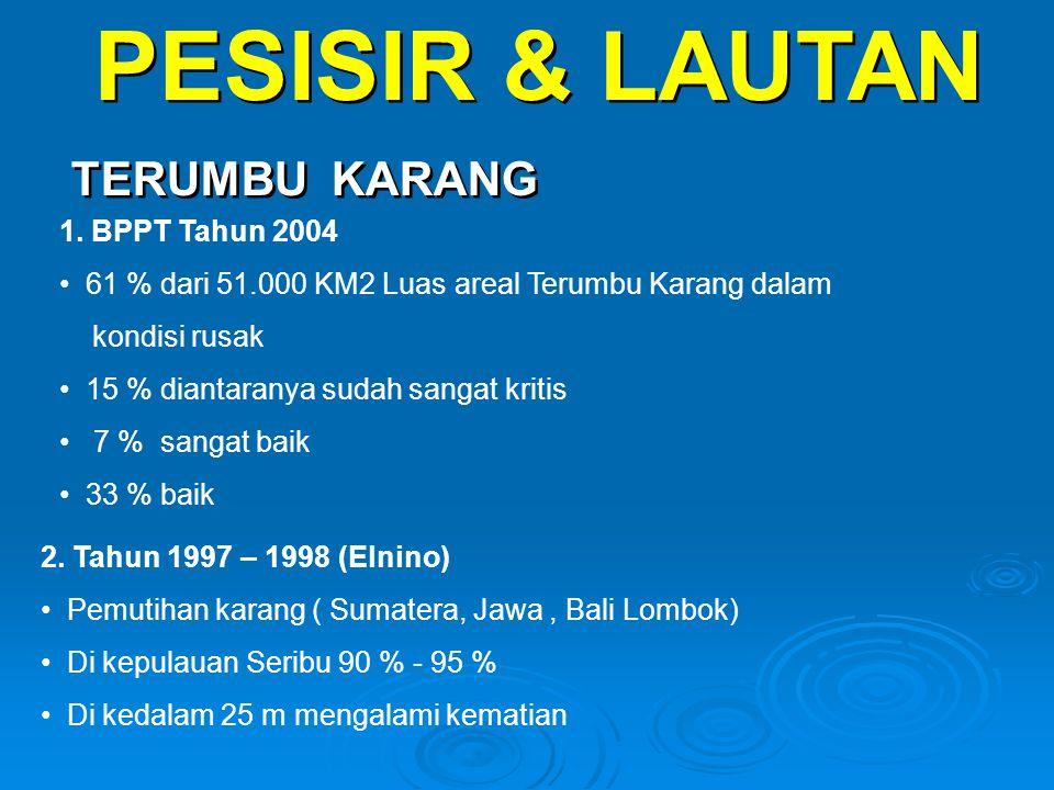 PESISIR & LAUTAN TERUMBU KARANG PESISIR & LAUTAN TERUMBU KARANG 1. BPPT Tahun 2004 • 61 % dari 51.000 KM2 Luas areal Terumbu Karang dalam kondisi rusa