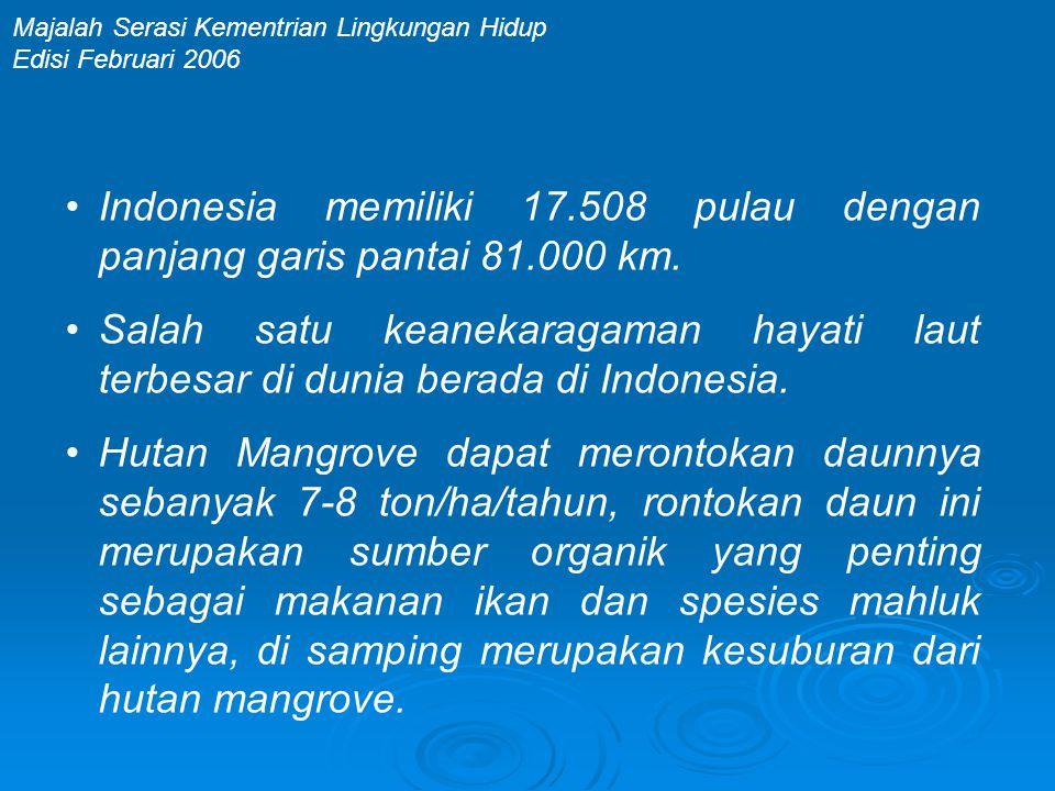 •Indonesia memiliki 17.508 pulau dengan panjang garis pantai 81.000 km. •Salah satu keanekaragaman hayati laut terbesar di dunia berada di Indonesia.