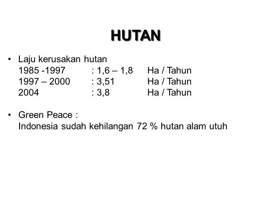 HUTAN •Laju kerusakan hutan 1985 -1997: 1,6 – 1,8Ha / Tahun 1997 – 2000: 3,51Ha / Tahun 2004: 3,8Ha / Tahun •Green Peace : Indonesia sudah kehilangan