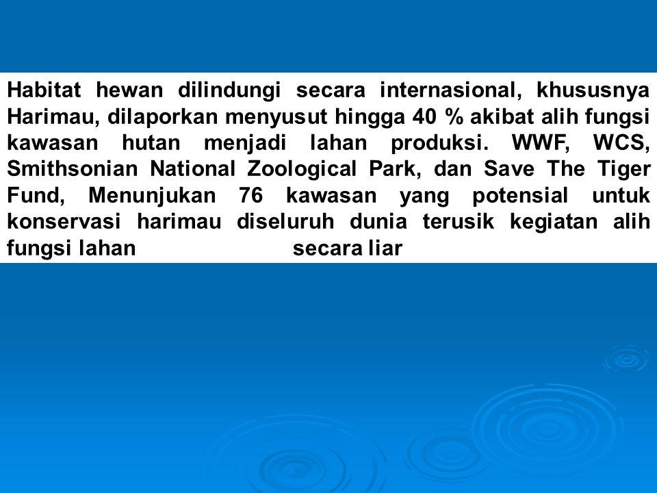 Habitat hewan dilindungi secara internasional, khususnya Harimau, dilaporkan menyusut hingga 40 % akibat alih fungsi kawasan hutan menjadi lahan produksi.