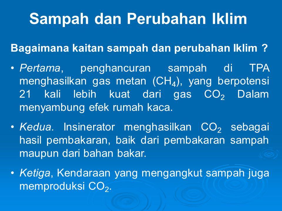 Sampah dan Perubahan Iklim Bagaimana kaitan sampah dan perubahan Iklim ? •Pertama, penghancuran sampah di TPA menghasilkan gas metan (CH 4 ), yang ber