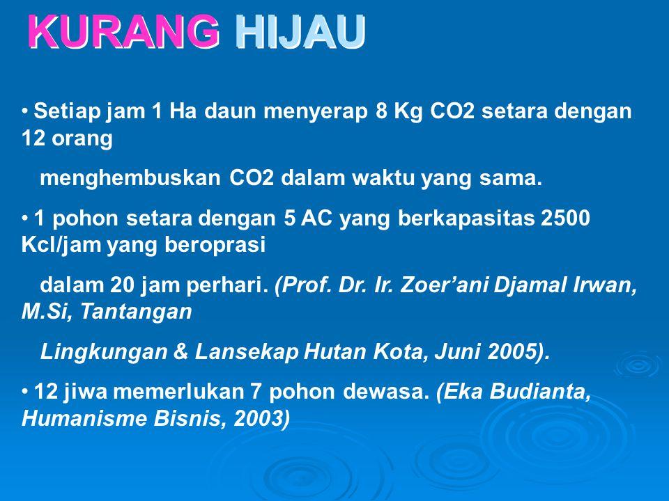 KURANG HIJAU •Setiap jam 1 Ha daun menyerap 8 Kg CO2 setara dengan 12 orang menghembuskan CO2 dalam waktu yang sama. •1 pohon setara dengan 5 AC yang